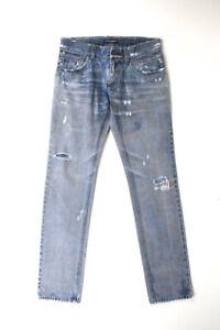 Original Dolce&Gabbana Men Denim Distressed Jeans Light Blue size 46IT (W30)