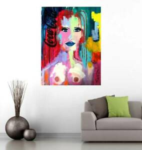 NUDE ABSTRACT PAINTING original >> SWARTZMILLER DNA SIGNED Pop ART 18x24 CANVAS
