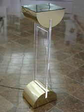 70s DISCO PIERRE CARDIN ERA LIGHTED LUCITE STAND PEDESTAL LAMP WITH GOLD TRIM