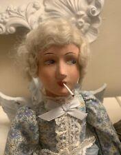 "Antique German Smoker Boudoir Doll Paper Mache Composite Mohair Wig 21"""