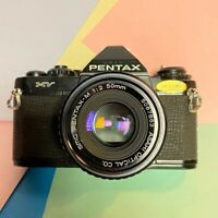 Pentax MV Black Body 35mm SLR Camera Working Order With 50mm F=2 Lens & Flash!