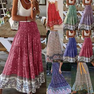 Womens Retro Skirts Fashion High Waist Boho Dresses Long Skirt Floral Maxi Skirt