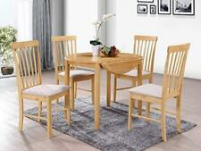 Kyla Light Oak Finish Round Drop Leaf Dining Set Extending Table with 2 Chairs