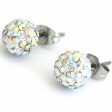 CRYSTAL BALL SPARLY STUD 10mm EARRINGS - UK SELLER &  *FREE*  SAME DAY POSTAGE
