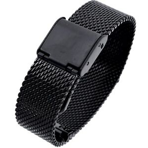 14mm Stainless Steel  Mesh Milanese Watch Band Bracelet Color Black  IPG