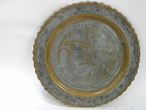 EXQUISITE DETAILED MID 20 c. OMAR KHAYYAM SCENE TIN COPPER ETCHED PERSIAN TRAY