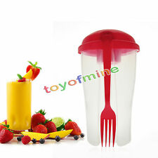 Portable Fresh Salad Shaker To Go Serving Cup Fork Fruit Fresh Vegetable Cup