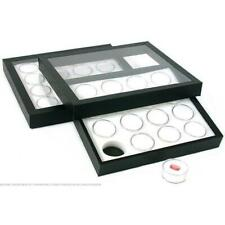 32 Gem Jars White Display Tray Travel Case Acrylic Lid