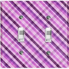 Metal Light Switch Cover Wall Plate For Room Plaid Purple WAL037