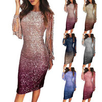 Women Sequin Party Club Bodycon Long Sleeve Cocktail Gown Prom Evening Dress