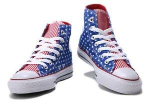 BRAND NEW MANY SIZES CONVERSE CHUCK TAYLOR ALL STAR BLUE WHITE STAR RED HI TOPS