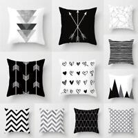 Black&White Geometric Throw Cover Pillow Cushion Square Case Decor Dazzling