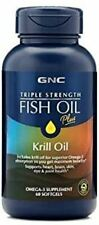 GNC Triple Strength Fish Oil Plus Krill Oil 60 Softgels for Join Skin Eye and He