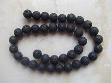 1filo/ 38pz  perline pietre di lava vulcanica tondo 10mm  colore nero