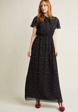 4495630894a New Modcloth Flowy Printed Maxi Chiffon Dress Sz M Black with Tied Neckline