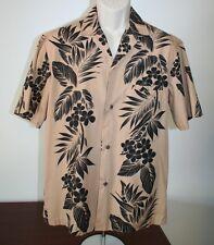Royal Creations Mens Hawaiian Medium Shirt Hawaii Plumeria Brown Made in USA EUC