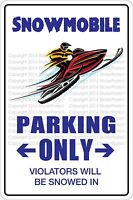 """*Aluminum* Snowmobile Parking Only 8""""x12"""" Metal Novelty Sign  NS 519"""