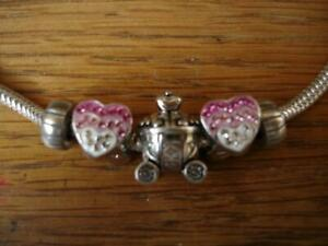 KAY JEWELERS CHARMED MEMORIES HEARTS & ROYAL COACH BRACELET STERLING SILVER NEW