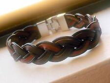 "MEN'S CUFF SOFT BANGLE BRACELET LEATHER braided pattern 8.5"""