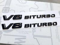 2 X V8 BITURBO Gloss Black BADGE FOR MERCEDES AMG C63 E63 S63 ML63 SL63 SL55 CLK