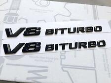 2 X V8 Biturbo Brillo Negro Insignia para Mercedes AMG C63 E63 S63 ML63 SL63 SL55 CLK