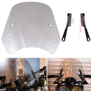 """5-7"""" Universal Motorcycle Windshield Clear Gray Front Windscreen w/ Mounting Kit"""