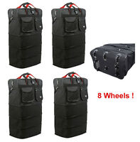 "4-Pack 8-Wheel 36"" Black Rolling Wheeled Duffle Bag Spinner Suitcase Luggage"