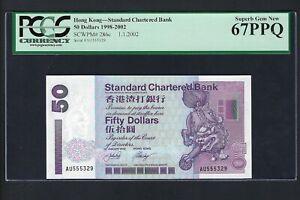 Hong Kong 50 Dollars 1-1-2002 P286c Uncirculated Grade 67