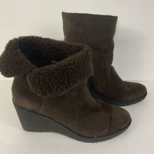 Kelly & Katie Size 11 Brown Suede Wedge Boots Fleece Lined Rolled Warm Casual