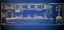 Vintage French Liner SS Ile de France 1927 Blueprint display 14x34 (281)
