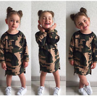 Toddler Kids Baby Girl Camo Long Sleeve T-shirt Tops Casual Long Shirt Dress USA
