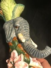 Ceramic Elephant Taper Candle Holder Palm Tree Tropical Floral 8�