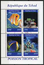 Chad 2019 CTO Tropical Fish Tang 4v M/S II Poisson Fishes Marine Stamps