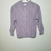 Universal Thread Sweater 1X Chunky Cable Design Knit Metallic Purple Loose Fit