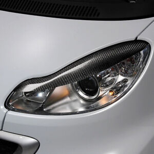 Real Carbon Fiber Headlight Eyebrow Eyelid Cover For Smart Fortwo W451 2007-2014