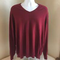 J.Crew Mens V-Neck Sweater Purple XL Cotton Cashmere Blend Long Sleeve Free Ship