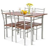 5 Piece Dining Table Set Wood Metal Kitchen Breakfast Furniture w/4 Chair Walnut
