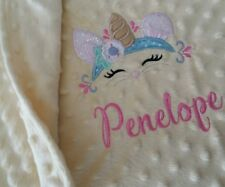 Personalised  Dimple  Fleece Baby Blanket Unicorn  Bunny