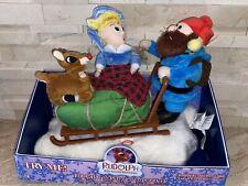Gemmy Rudolph The Red Nosed Reindeer Hermey & Yukon Cornelius In Sleigh