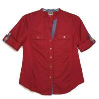 Anne Klein NWOT V Neck Blouse Sz M Medium Red Tab SS Mandarin Collar Button Up