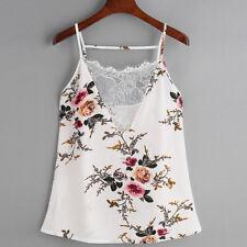 Women Sleeveless Floral V Neck Vest T-shirt Ladies Summer Beach Tank Tops Blouse White XL