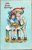 1908 Katharine Gassaway/Artist-Signed Tuck Postcard: Easter Chicks & Children