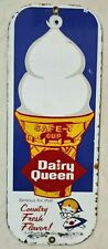 VINTAGE PORCELAIN CERAMIC SIGN  DAIRY QUEEN 12X5  INCH DIE CUT APPROX
