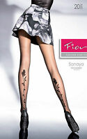 Medias Sonaya Vela 20D Tatuaje Espalda Pierna Fiore Negro Tamaño 4