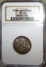 1916 M SILVER AUSTRALIA SHILLING KING GEORGE V COIN NGC MINT STATE 62