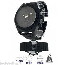 BLING MASTER PAVE CRYSTAL BLACK TONE DIAL &  BAND WATCH 91359S+BOX