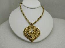 "Vintage Crown Trifari Layered Heart Pendant Necklace, 20"", 1970's"