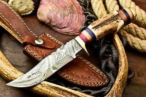 Rare!!! Custom Handmade Damascus Steel Blade Hunting Knife | Stag Antler