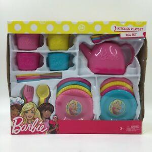 BARBIE 30 PC KITCHEN TEA PARTY PLAY SET TEAPOT PLATES FLATWARE CUPS SAUCERS NEW