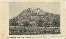 Stampa antica CAVOUR veduta della rocca Torino 1893 Old antique print